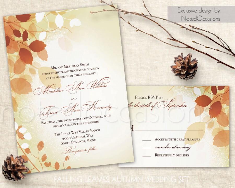 Fall Wedding Invitations Leaves, Printable Fall Invite Rystic Fall
