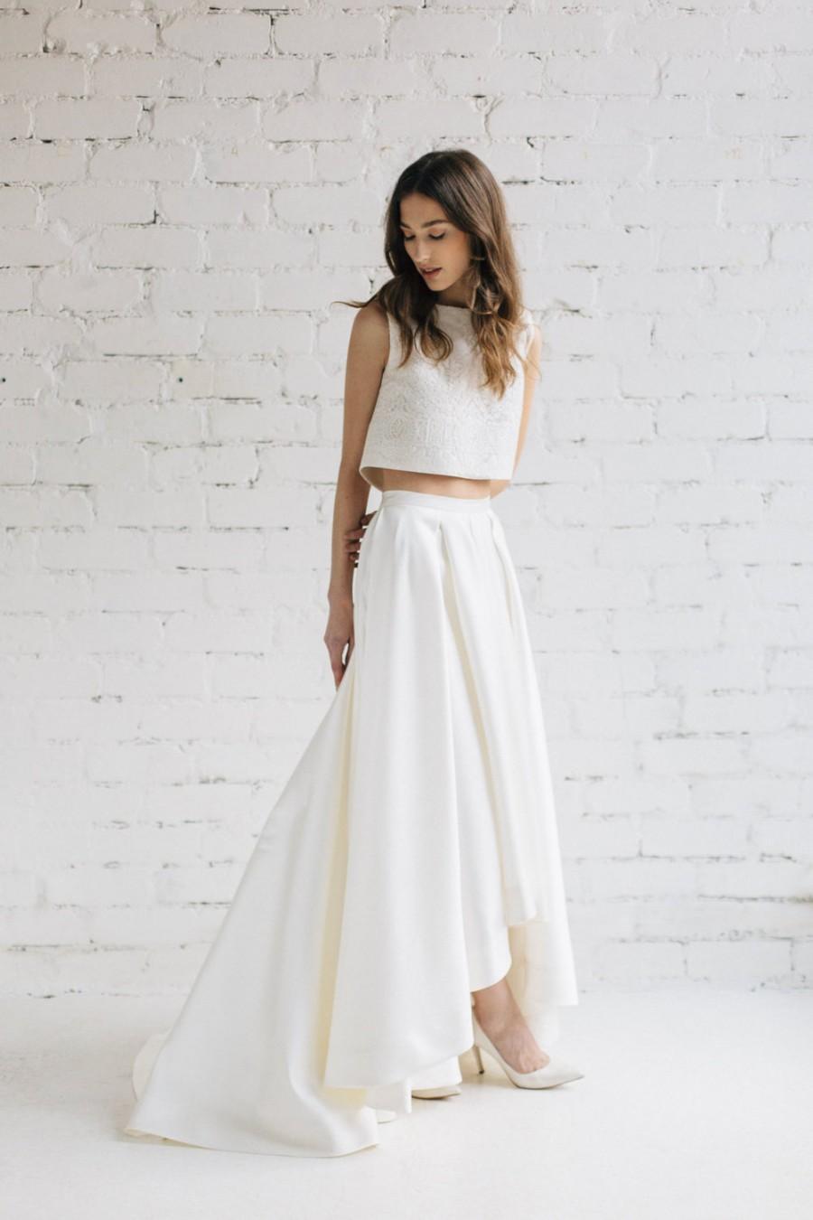 charlotte crop top skirt crop top wedding dress Black and white photo of two piece Monique Lhuillier wedding dress