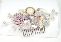Blush Bridal Comb -Vintage Bridal Hair Clip- Floral ...