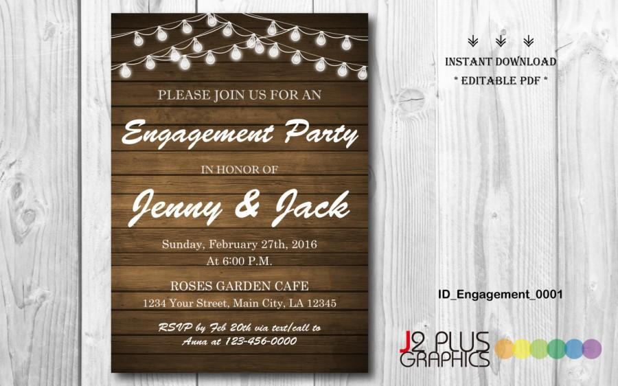 INSTANT DOWNLOAD Engagement Invitation, Rustic Lights Engagement