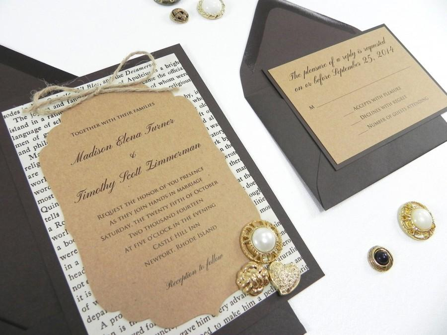 Rustic Victorian Style Book Page 4 Piece Wedding Invitation Suite