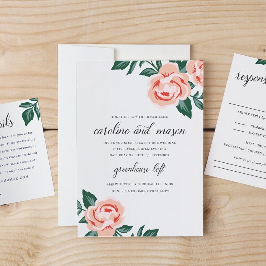 Diy Wedding Invitations With Photo Diy Wedding Invitation Template Colorful Floral Word Or Pages