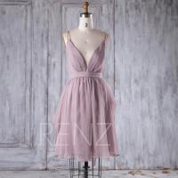 2016 Lavender Chiffon Bridesmaid Dress, Deep V Neck ...