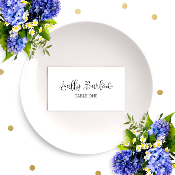 Wedding Place Cards-Chic Calligraphy Escort Cards-DIY Printable - dinner card template