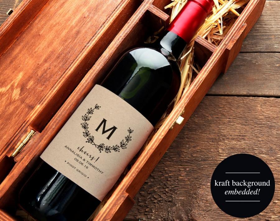 Wedding Wine Label, Custom Wine Label, Monogram Wine Label Printable