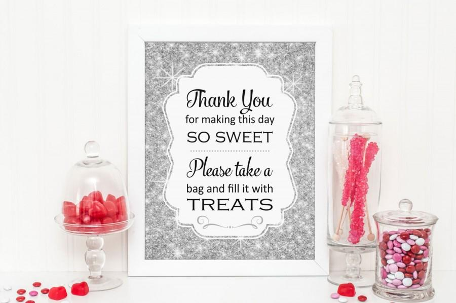 Silver Sparkle Candy Buffet Sign, PRINTABLE Download, Bling Candy