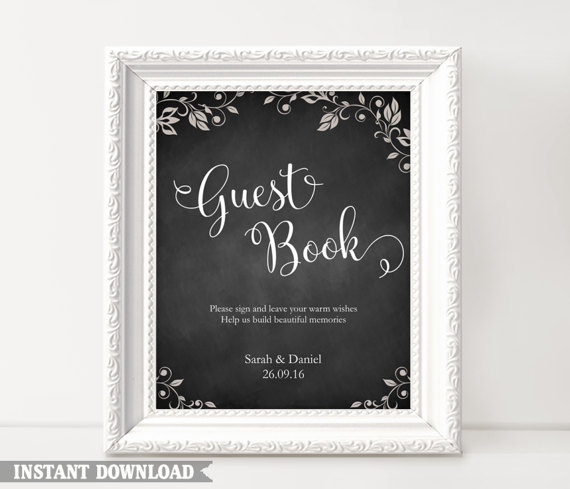 Guest Book Sign, Wedding Guest Book Sign, Printable Guest Book Sign