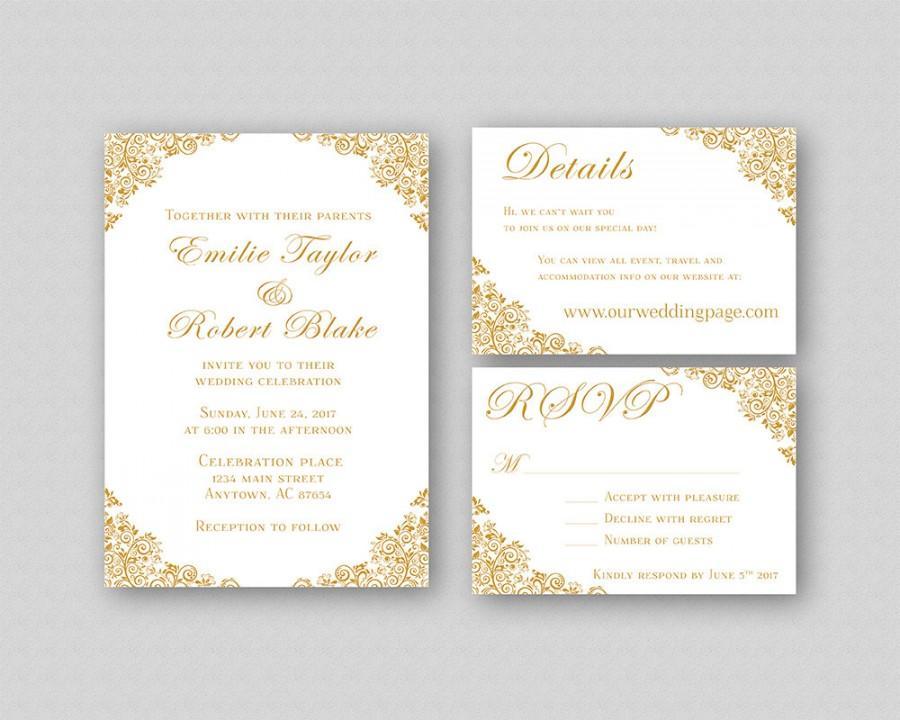 Wedding Invitations, Gold Wedding Invitation Suite, Elegant Wedding