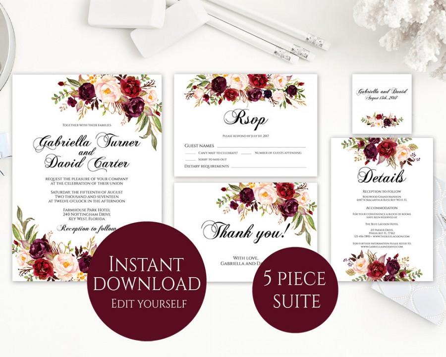 Wedding Invitation Template, Invitation Suite Template, Marsala