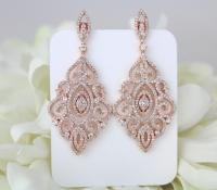 Rose Gold Earrings, Bridal Earrings, Wedding Jewelry ...
