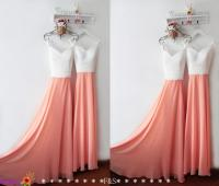 Spaghetti Strap Coral Bridesmaid Dress,Low Back Chiffon ...