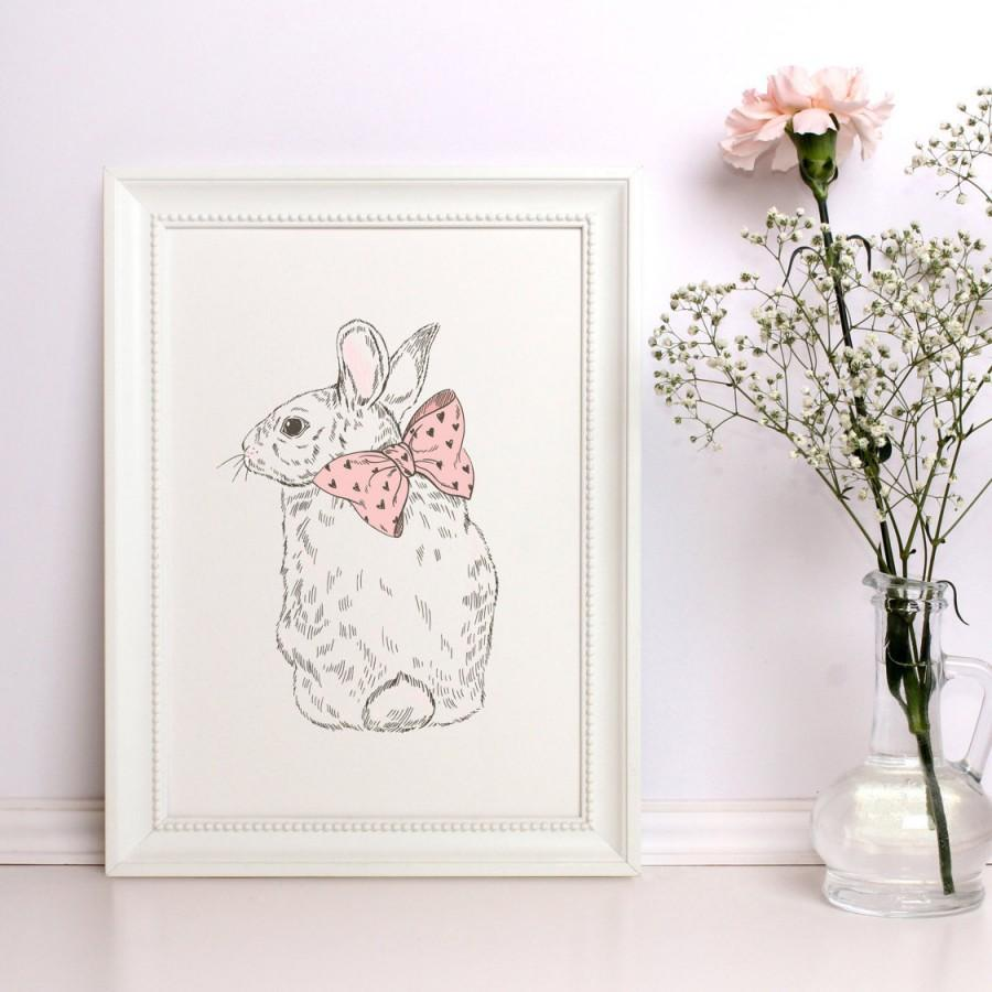 Nursery Prints Girl Baby Girl Nursery Decor Baby Animal Print Rabbit Print Nice Rabbit