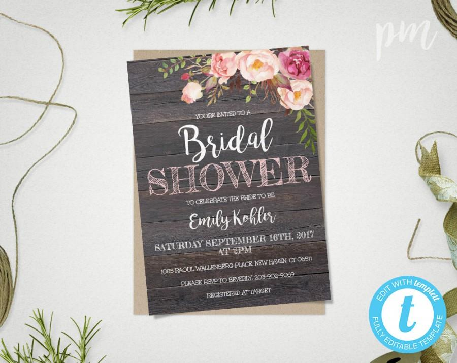 Rustic Floral Bridal Shower Invitation Template, Printable Rustic - bridal shower invitation templates download