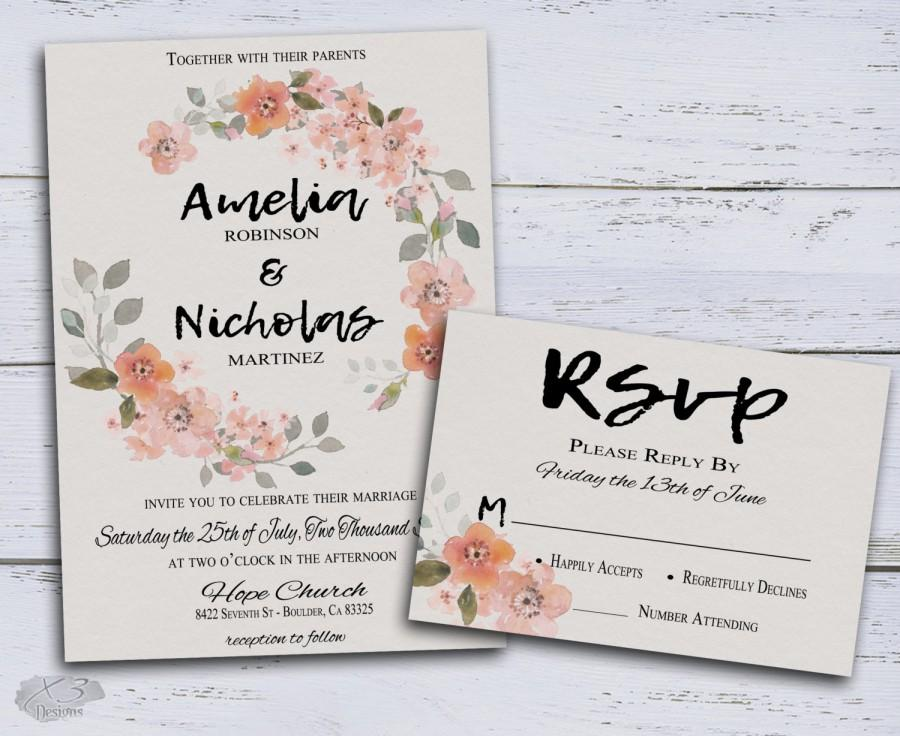Rustic Wedding Invite, Floral Wedding Invitation, Bohemian Wedding