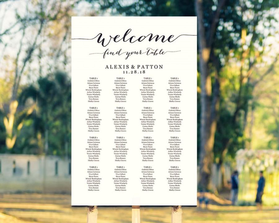 Welcome Wedding Seating Chart Template In FOUR Sizes, Find Your