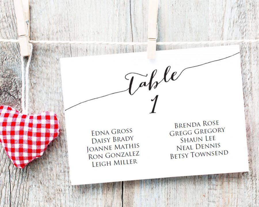 Table Seating Cards Template 1-40, Wedding Seating Chart, DIY Table