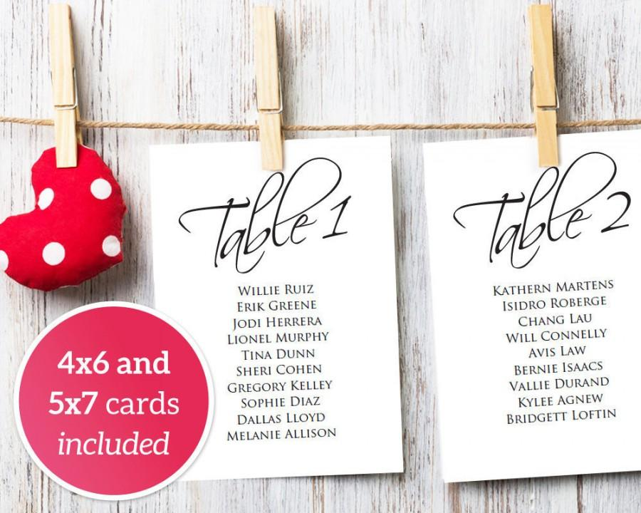 Wedding Table Seating Cards 1-40 Template, 4x6  5x7 Seating Charts