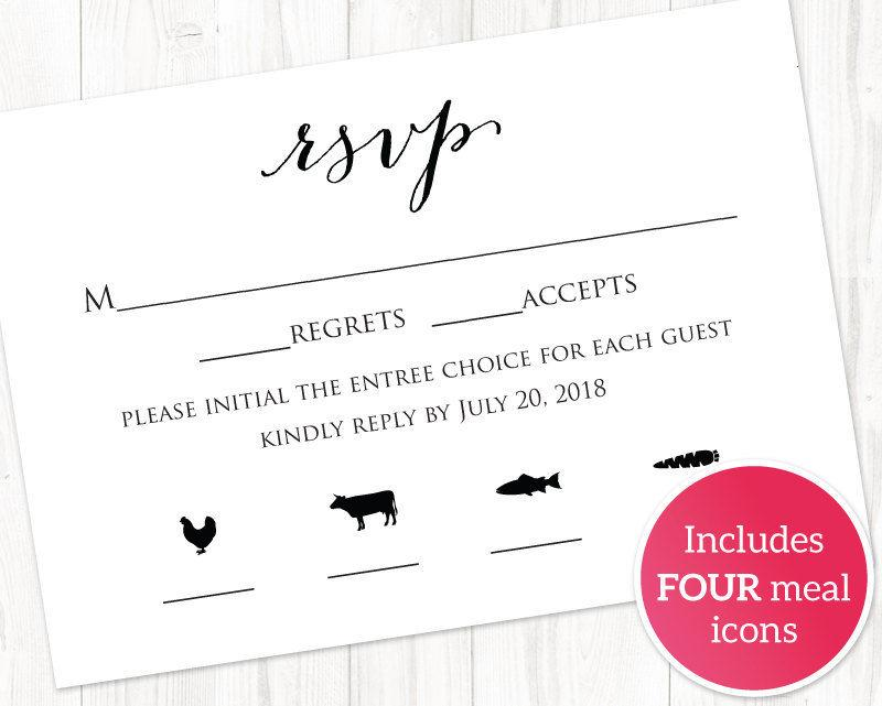 RSVP Card With Meal Icons Templates, FOUR Meal Combinations, RSVP