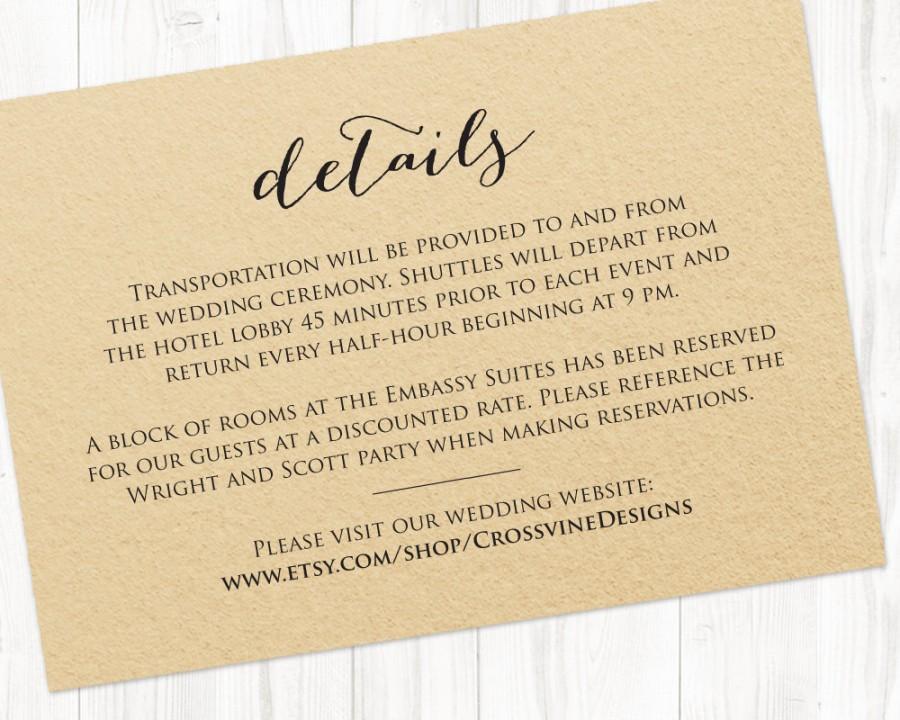 Details Card Insert, Wedding Information Card Template, DIY Bride