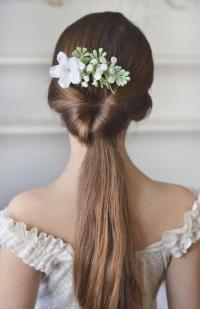 White Bridal Comb Flowers Gypsophila Head Piece Back White ...