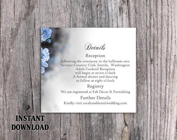 DIY Wedding Details Card Template Download Printable Wedding
