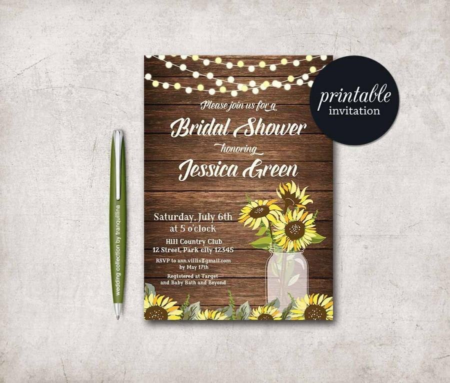 Rustic Bridal Shower Invitation Printable, Sunflower Bridal Shower