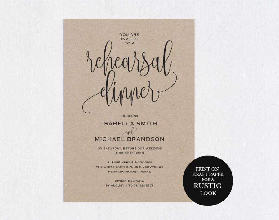 Rehearsal Dinner Invitation Template, Rehearsal Printable, Modern - dinner invite templates