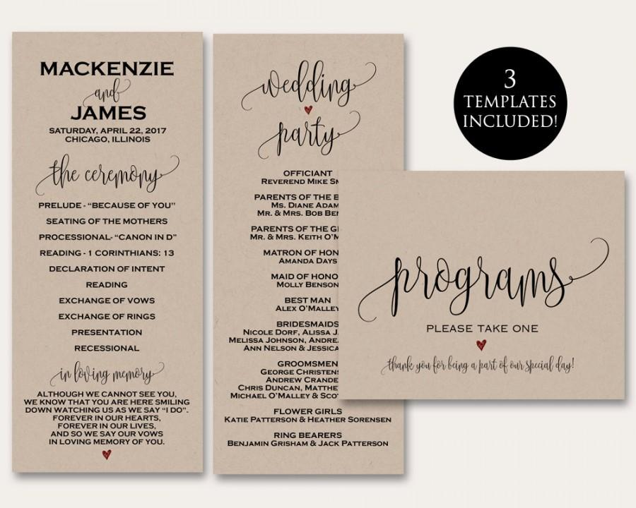 Ceremony Programs, Ceremony Program Template, Wedding Programs