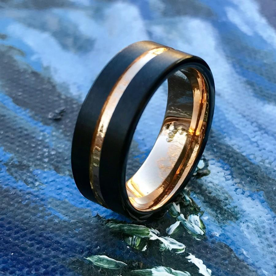 gold tungsten wedding bands ArtCarved Rings DIXON Two Tone 14K White Gold Ring with Rose