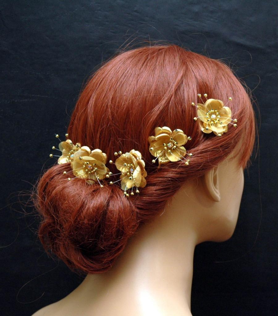 Gold Silk Flower Hair Pins, Wedding Hair Accessories, Set