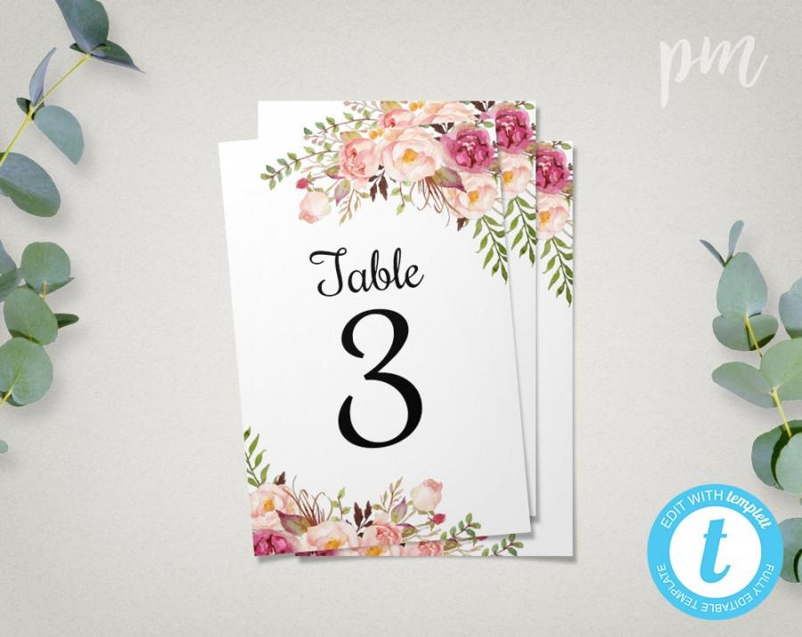 Floral Wedding Table Numbers Template, 4x6 Printable Table Number