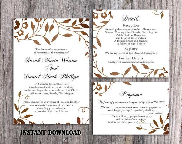 Wedding Invitation Template Download Printable Wedding Invitation