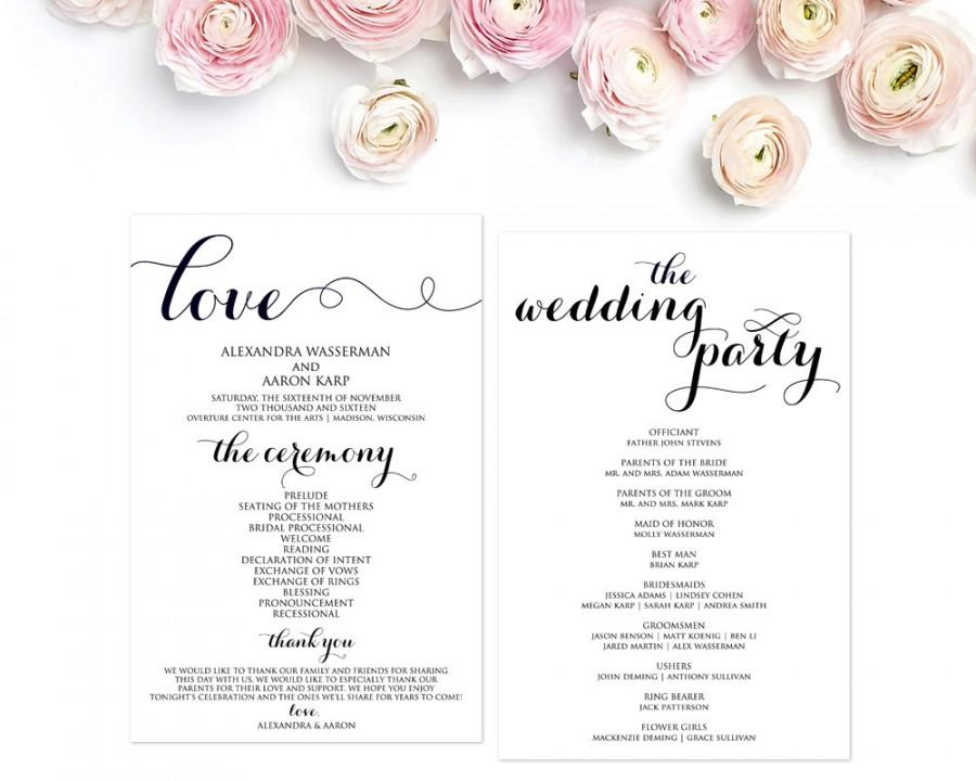 Wedding Program Template, Wedding Programs, Ceremony Program