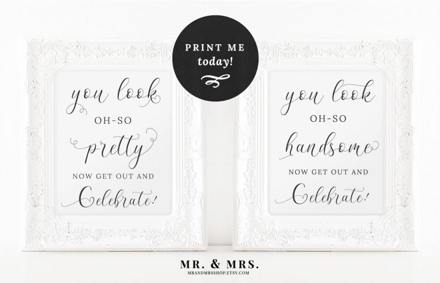 Wedding Bathroom Signs, Wedding Pretty And Handsome Signs, Bathroom