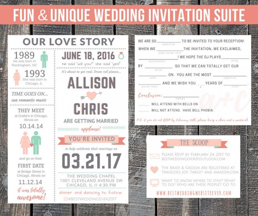 Printable Wedding Invitation Suite / Our Love Story / Custom