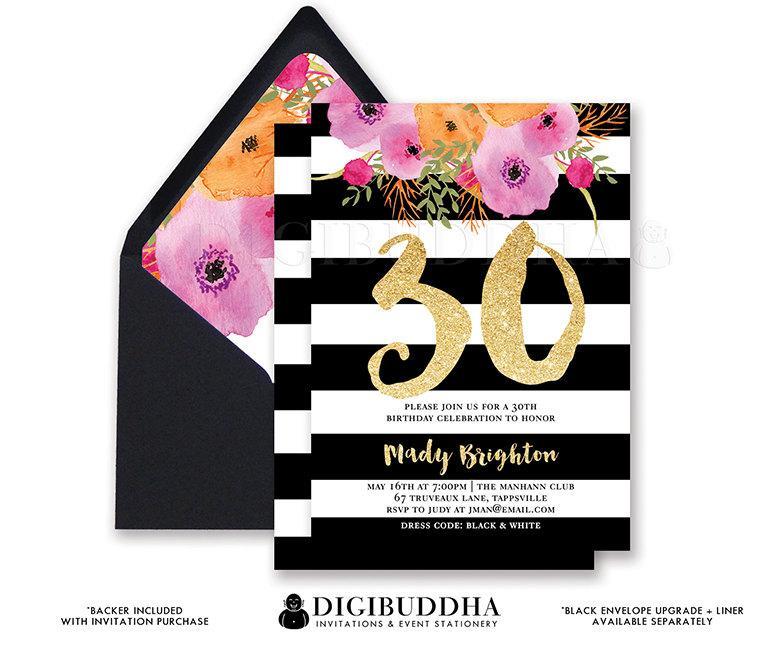BLACK  WHITE BIRTHDAY Invitation Stripe Gold Glitter 30th 21st