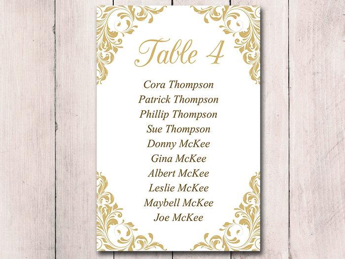 Gold Wedding Seating Card Template - Table Chart Wedding \