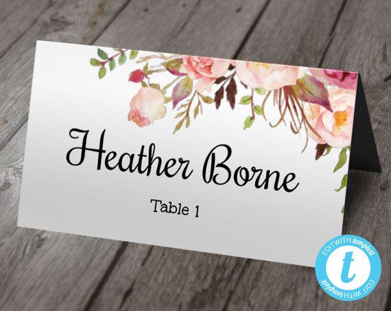 Boho Floral Wedding Place Card Template, Escort Cards, Printable