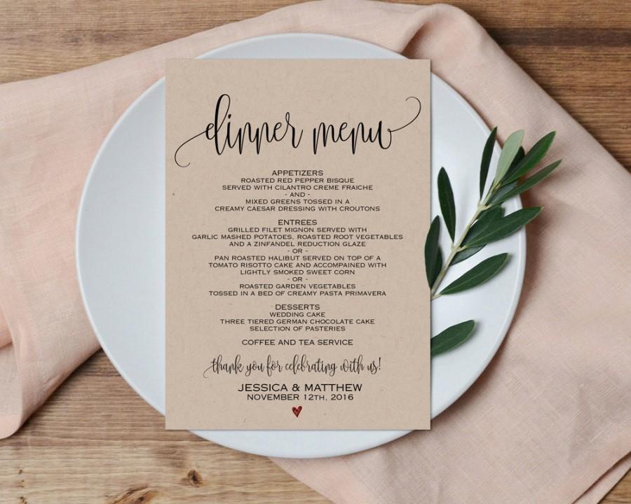Dinner Menu, Wedding Menu, Printable Wedding Menu, Wedding Menu PDF