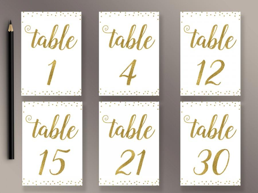 Wedding Table Numbers 1-30 Printable, Gold Confetti Table Numbers