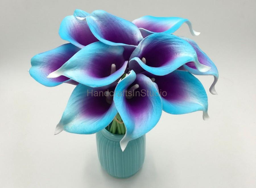 Blue Purple Calla Lily Bouquet 10 Real Touch Calla Lilies Purple