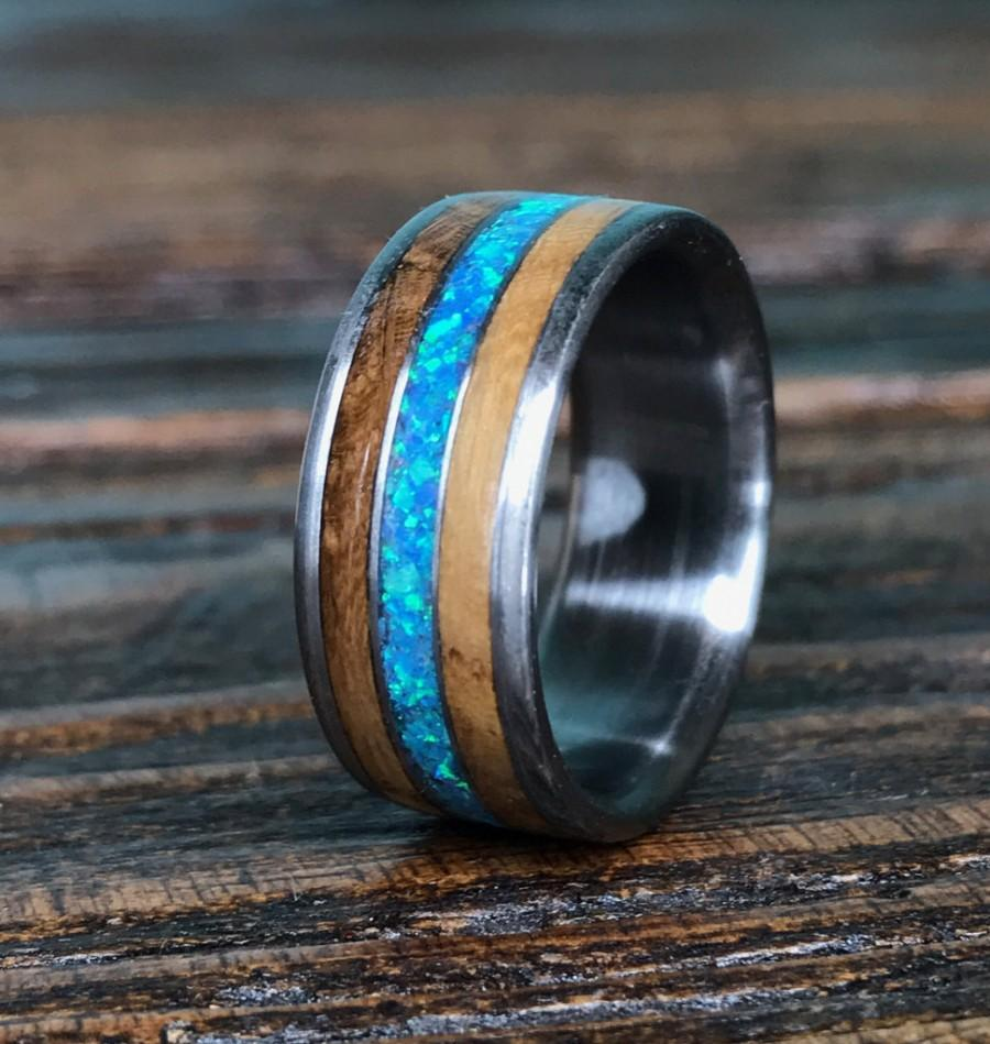 wood wedding bands mens wedding rings wood 8mm Silver Tungsten Koa Wood Ring with Tungsten Stripe Unique Mens Wedding