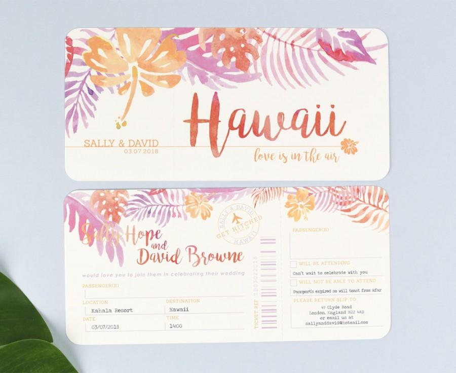 Tropical Airline Ticket Wedding Invitations With Tear Off RSVP