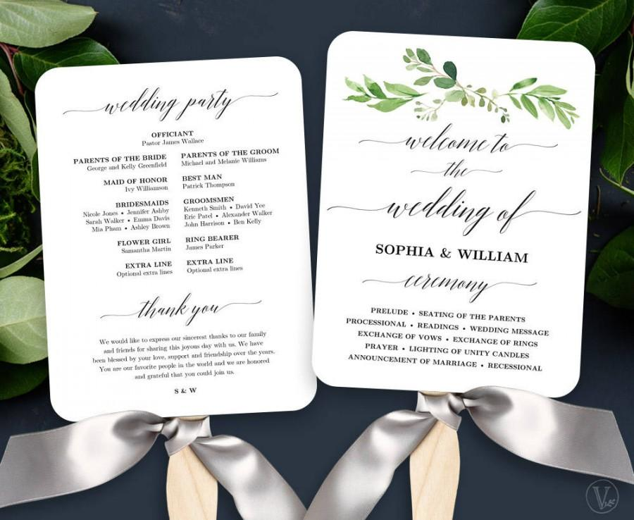 Garden Greenery Wedding Fan Program, Printable Wedding Fan Program