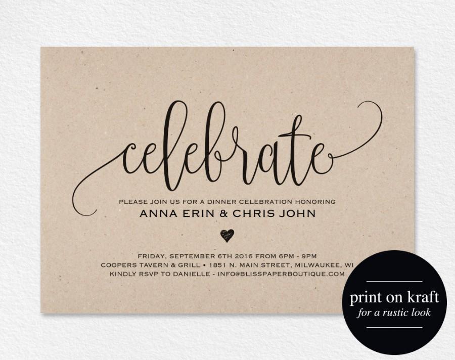 Celebrate Invitation Printable, Dinner Party Printable, Party