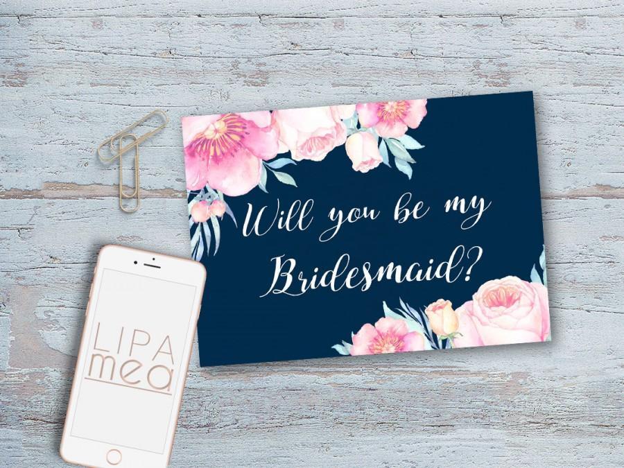 Bridesmaid Card, Bridesmaid Proposal Card Printable, Will You Be My