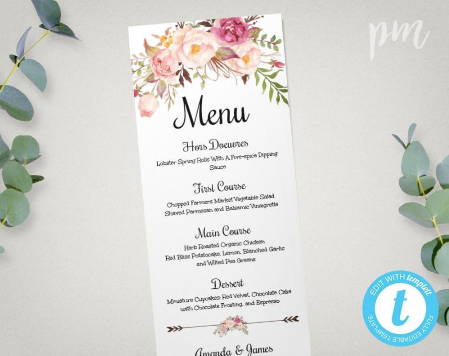 Wedding Menu Template, Printable Menu, Floral Wedding Menu Template - wedding menu template