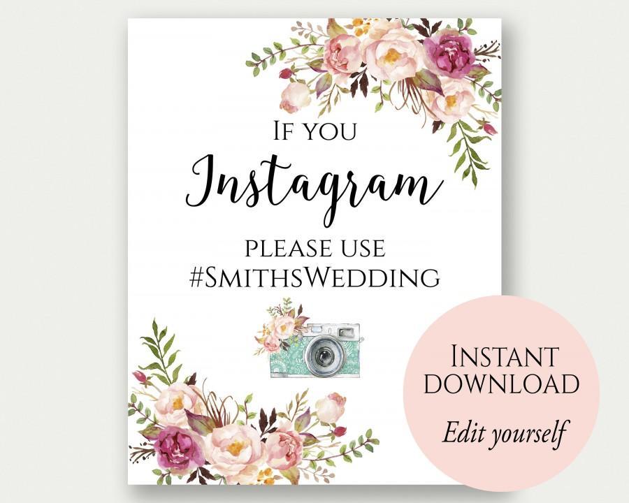 Instagram Wedding Sign, If You Instagram Sign, Instagram Sign