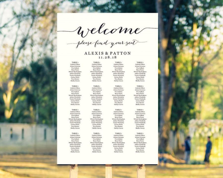 Wedding Seating Chart Template In FOUR Sizes, Welcome Please Find