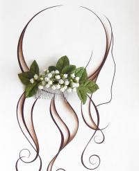 Bridal Floral Hair Comb, Gypsophila, Green Leaves, White ...